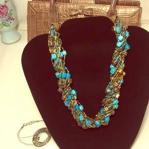 Jewelry - Twisted beaded turquoise bronze BoHo necklace new